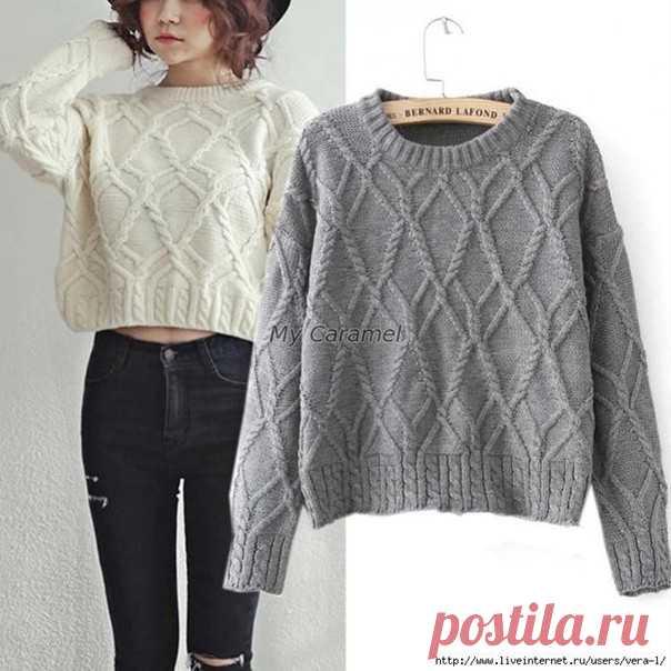 Свободный арановый пуловер спицами (узор).