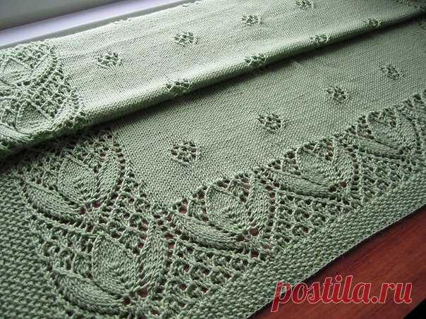 Плед спицами с тюльпанами. Красивое вязание спицами для дома | Вязание для всей семьи