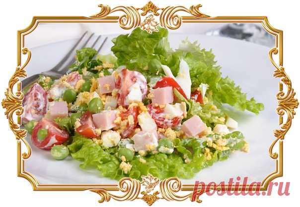 Салат с ветчиной и зелёным горошком (рецепт на скорую руку)  Приготовление этого яркого и сытного блюда займёт у вас всего 15 минут.  Время приготовления: Показать полностью...