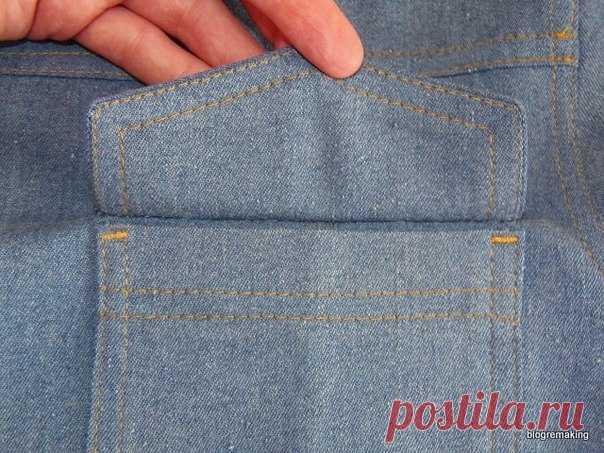 Накладной карман с клапаном: технология обработки   #карман@fashion.freak  #техника_шитья@fashion.freak