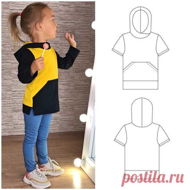 Выкройка детской футболки/лонгслива, р. 86 - 140.  2 варианта рукава: короткий и длинный.