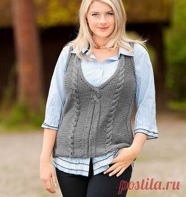 Безрукавка с V-образным вырезом спицами для женщин – 10 моделей со схемами и описанием — Пошивчик одежды