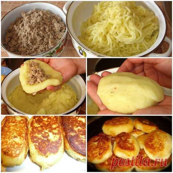 Очень уж аппетитно выглядит Картофельные зразы  Ингредиенты: 10 картофелин; 2 ст. л. муки или панировочных сухарей; 1 репчатый лук; 2 куриных яйца; 4 ст. л. сливочного масла. Для фарша: 200 гр. свежих грибов; 1 репчатый лук; молотый черный перец и соль — на вкус. Рецепт приготовления: Почистите и сварите до готовности в подсоленной воде картофель. После слейте воду. Картофель, пока он горячий, разомните в пюре без комочков. В немного охлажденное картофельное пюре разбейте ...