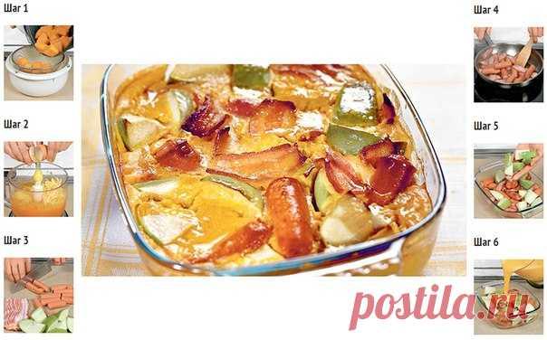 Тыквенная запеканка с сосисками и сыром, яблоками и беконом  Время готовки: 1 ч. Количество порций: 4. Сложность приготовления: легкая.  Количество калорий: 267 ккал. Белки - 10 г. Жиры - 22 г. Углеводы - 7 г.  Ингредиенты: 400 г тыквы. 2 яйца. 50 г российского сыра. 50 г копченого бекона. 8 подкопченных сосисок. 1 ст. л. растительного масла. 2 яблока. Соль, и перец по вкусу.  Способ приготовления: Шаг 1: Тыкву очистить от кожуры и семян. Мякоть вымыть, нарезать большими к...