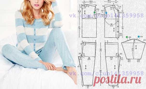 Женская пижама, выкройка на размеры 44 и 48 (рос.). #простыевыкройки #простыевещи #шитье #женскаяпижама #выкройка