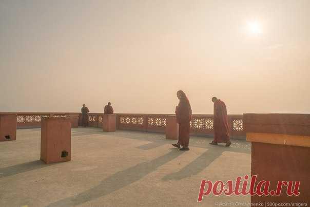 Монахи на утренней прогулке. Катманду, Непал. Автор фото – Арсений Герасименко: nat-geo.ru/photo/user/49955/