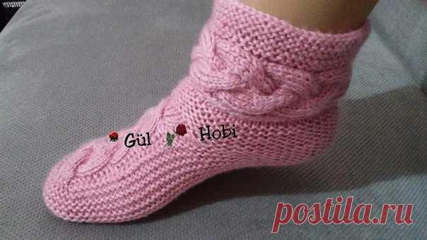 красивые носки с косами мастер класс связать носки на двух спицах