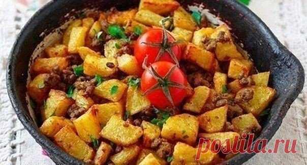 Как приготовить жареный картофель с фаршем - рецепт, ингредиенты и фотографии