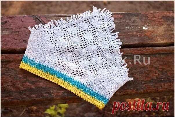 ажурная косынка на резинке вязание для девочек вязание спицами и