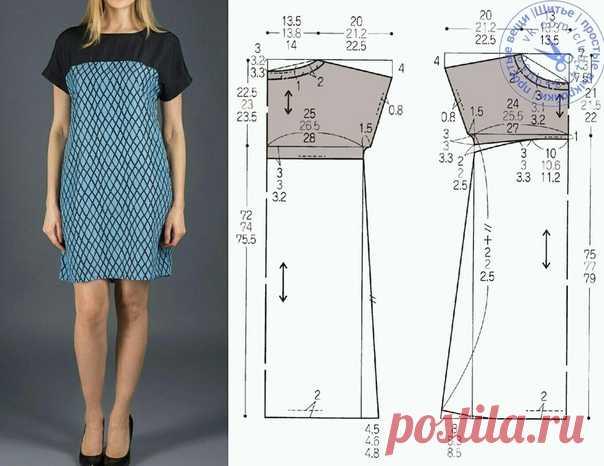 Платье с короткими цельнокроеными рукавами, на кокетке, выкройка на размеры 40/42, 44, 46/48 (рос.). #простыевыкройки #простыевещи #шитье #платье #выкройка