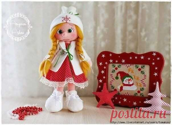 Оформление лица вязаной кукле