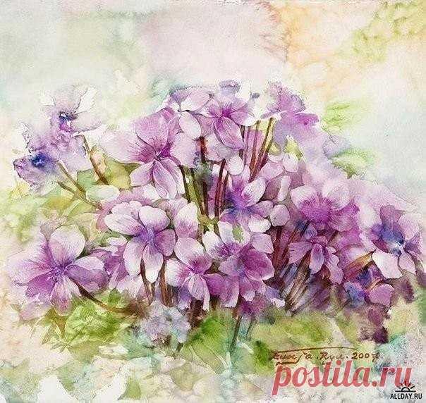 Gentle flower water colors of Ryu Eunja