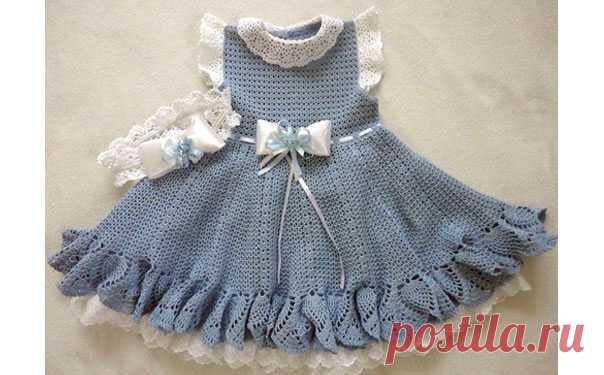 Сероголубое платье для девочки.Схема Вязаное платье для девочки. Схема вязания крючком