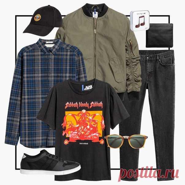 Хотите поделиться со всеми названием своей любимой рок-группы - футболка с ярким принтом идеально для этого подойдёт! А завершить такой образ помогут черные джинсы и бомбер. #HMMan