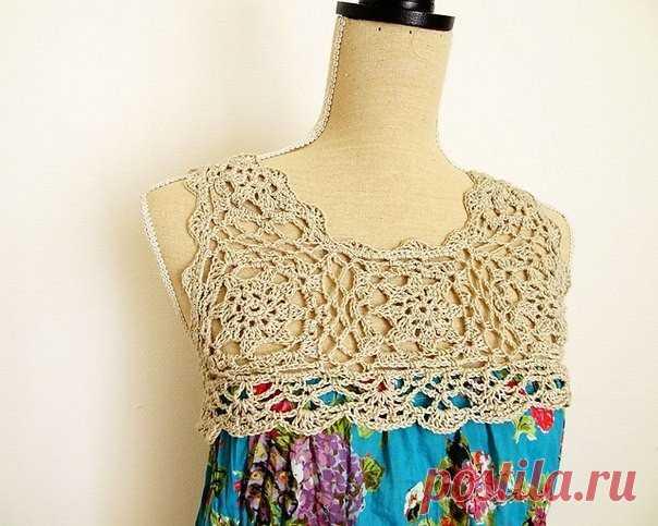 идея для детского платья тканьвязаная кокетка крючком вязание с