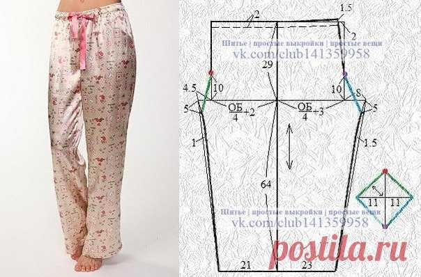Los pantalones pizhamnye con la sobaquera.\u000d\u000a#простыевыкройки #простыевещи #шитье #пижама #брюки #выкройка