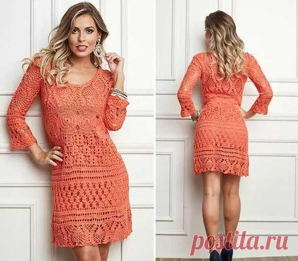 1cfb42f55f0 Вязаное платье с длинным рукавом вязаное крючком. Бразильские платья крючком