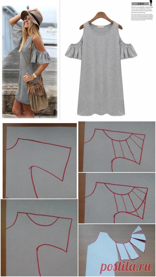 d362cd2de44 Майка-платье с необычными рукавами   Простые выкройки   ВТОРАЯ УЛИЦА ...