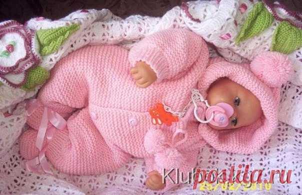 вязаный комбинезон спицами грудному малышу вязание не сложное без о