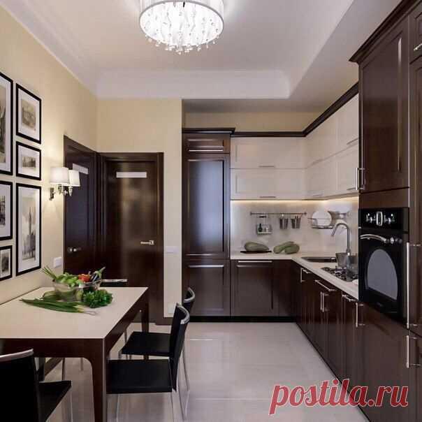 Шоколадная кухня! Угловая и на контрасте с белым, смотрится хорошо!