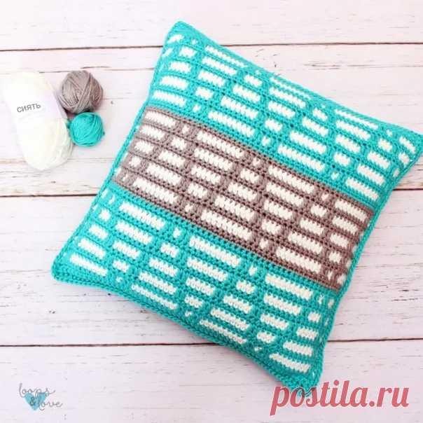 Подушка в технике мозаичного вязания крючком  https://youtu.be/Kkky-S5gkp4