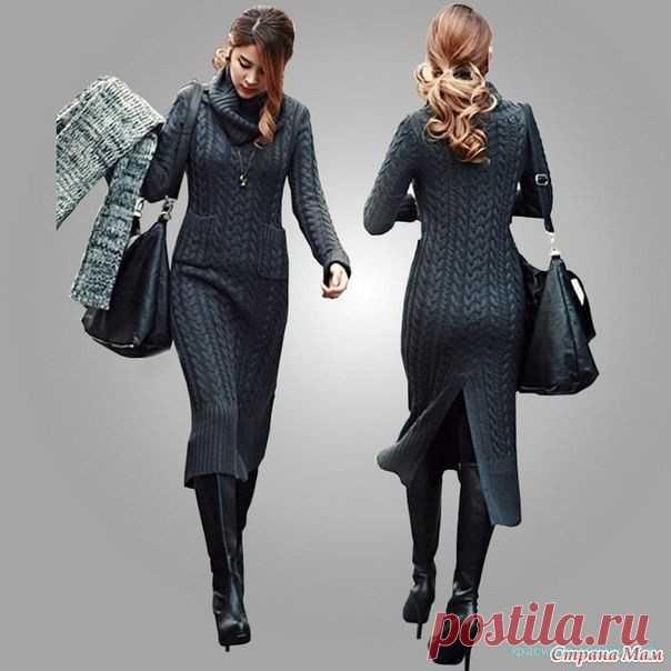 Вяжем красивое платье спицами Вяжем красивое платье спицами. Узор косы. Описание вязания платья спицами и схема вязания платья спицами прилагается.…