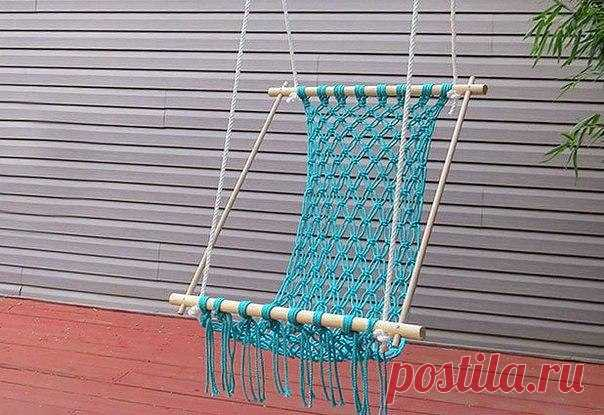 Hammock for giving from a rope the hands. How to weave a hammock most   Housekeeping for all family.