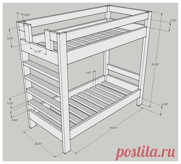 Делаем двухъярусную кровать по готовым чертежам