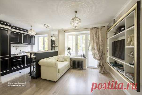 Интерьер однокомнатной квартиры площадью 28,8 кв.м