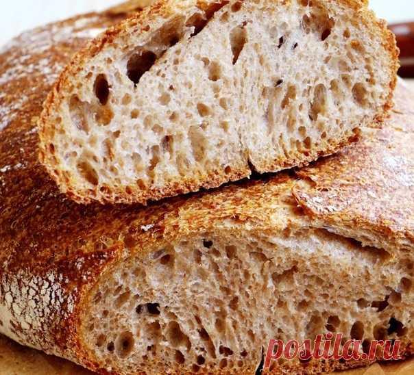 Хлеб на закваске идеального вкуса и аромата из пшеничной ц/з муки  Пшеничный хлеб с большим количеством цельнозерновой муки без даже намека на кислинку !. Это хлеб на половину состоит из пшеничной цельнозерновой муки, на половину из обычной в/с , в нем нет масла, сахара и каких-либо добавок, есть только необходимый минимум: мука, вода, соль, закваска. Если его правильно испечь, получится умопомрачительно вкусный хлеб со сногсшибательным ароматом.   Все дело в методе — в по...