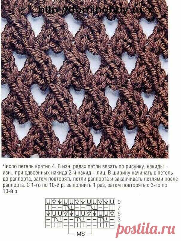 15 красивых сетчатых узоров спицами для летних вещей | Факультет рукоделия | Яндекс Дзен