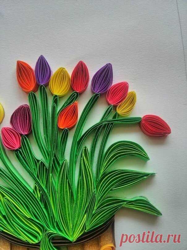 Тюльпаны в технике квиллинг