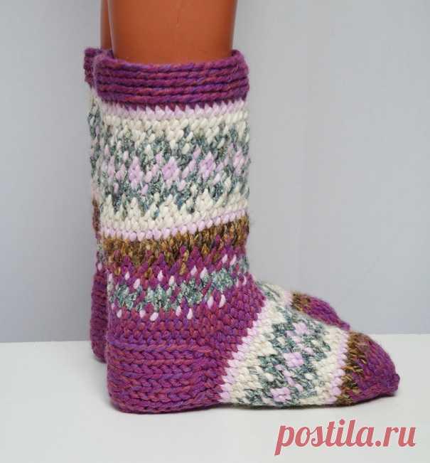 вязание джурабов крючком утепляем ноги модными вещами тапочки