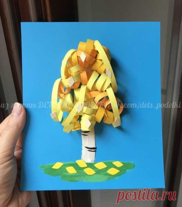 Осенняя аппликация из бумаги и пластилина