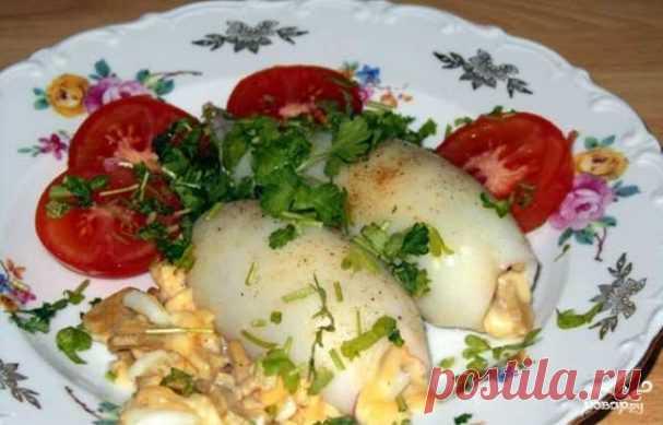 Кальмар, фаршированный грибами и яйцом - пошаговый рецепт с фото на Повар.ру