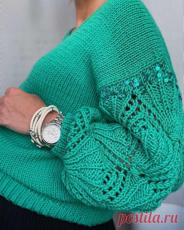 10 моделей: пуловер спицами женский с узором на рукавах 8 моделей: пуловер спицами женский, схемы вязания.