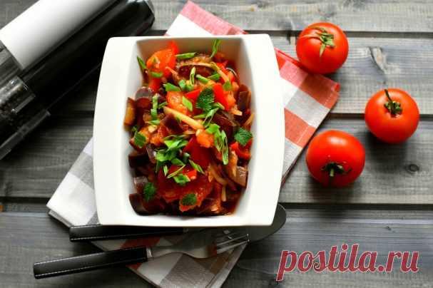 Салат из баклажанов с помидором и перцем - пошаговый рецепт с фото на Повар.ру