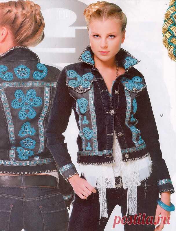 джинсовая куртка от ольги жуковой стиль бохо журнал мод вязание