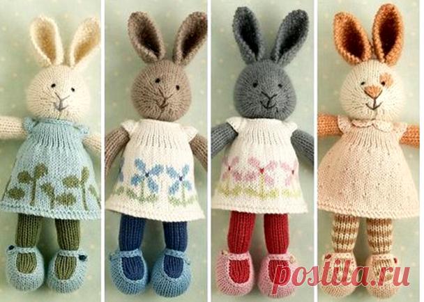 схема вязания зайца спицами с пошаговым описанием заяц связанный
