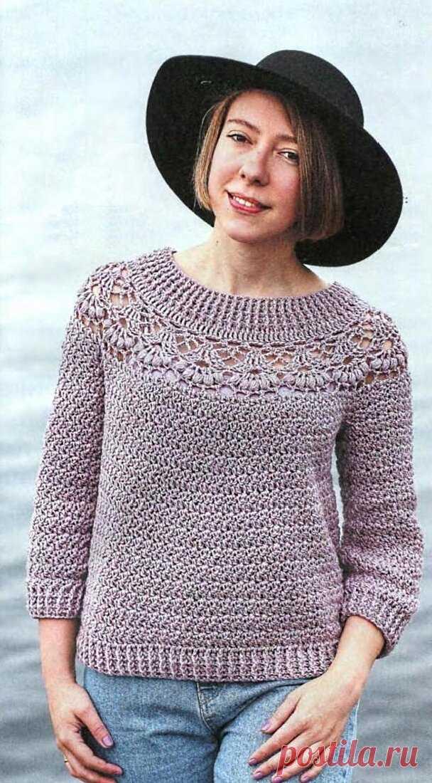 Пуловер с ажурной кокеткой   Вяжем крючком!!! и не только...   Яндекс Дзен