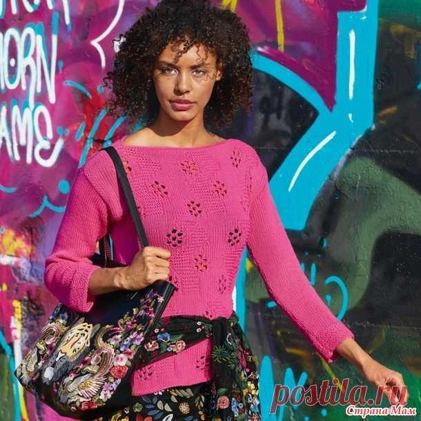 Джемпер со сквозными цветочными мотивами - Вязание спицами - Страна Мам
