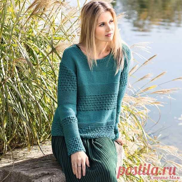 . Иссиня-зеленый джемпер с сочетанием узоров - Вязание - Страна Мам