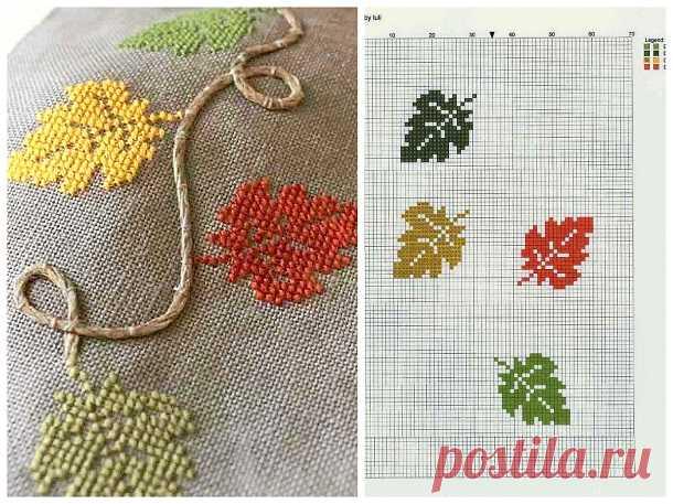 Вышивка: листья крестом. Схема