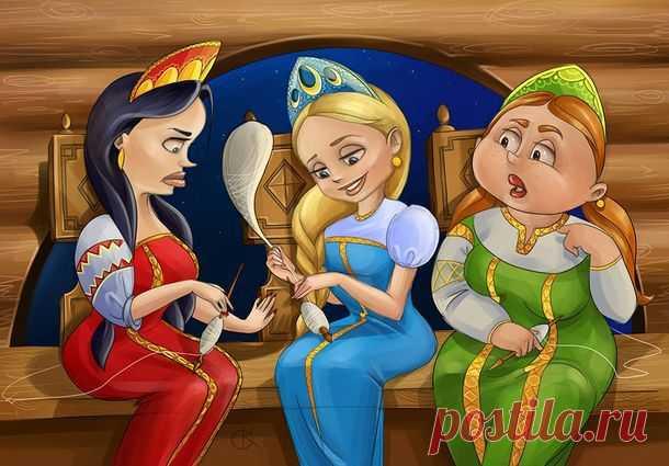 Сказка о Царе Салтане на новый современный лад  Три девицы под окном…   Три девицы под окном Размечтались вечерком. (Хоть сейчас век двадцать первый, Те остались же проблемы, — Мужика как заманить, На себе скорей женить, Чтоб с женой одной он жил …