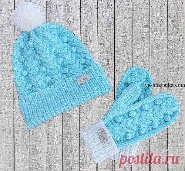 шапка и варежки детские спицами комплект шапка шарф варежки вязать