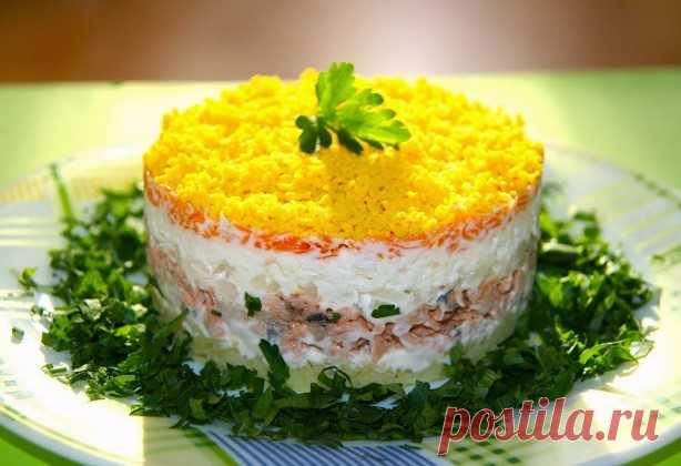 Салат Мимоза с консервой — классические рецепты приготовления Салат «Мимоза» — своего рода кулинарная классика. Она была крайне популярна в СССР и являлась неизменным атрибутом практически любого праздника.