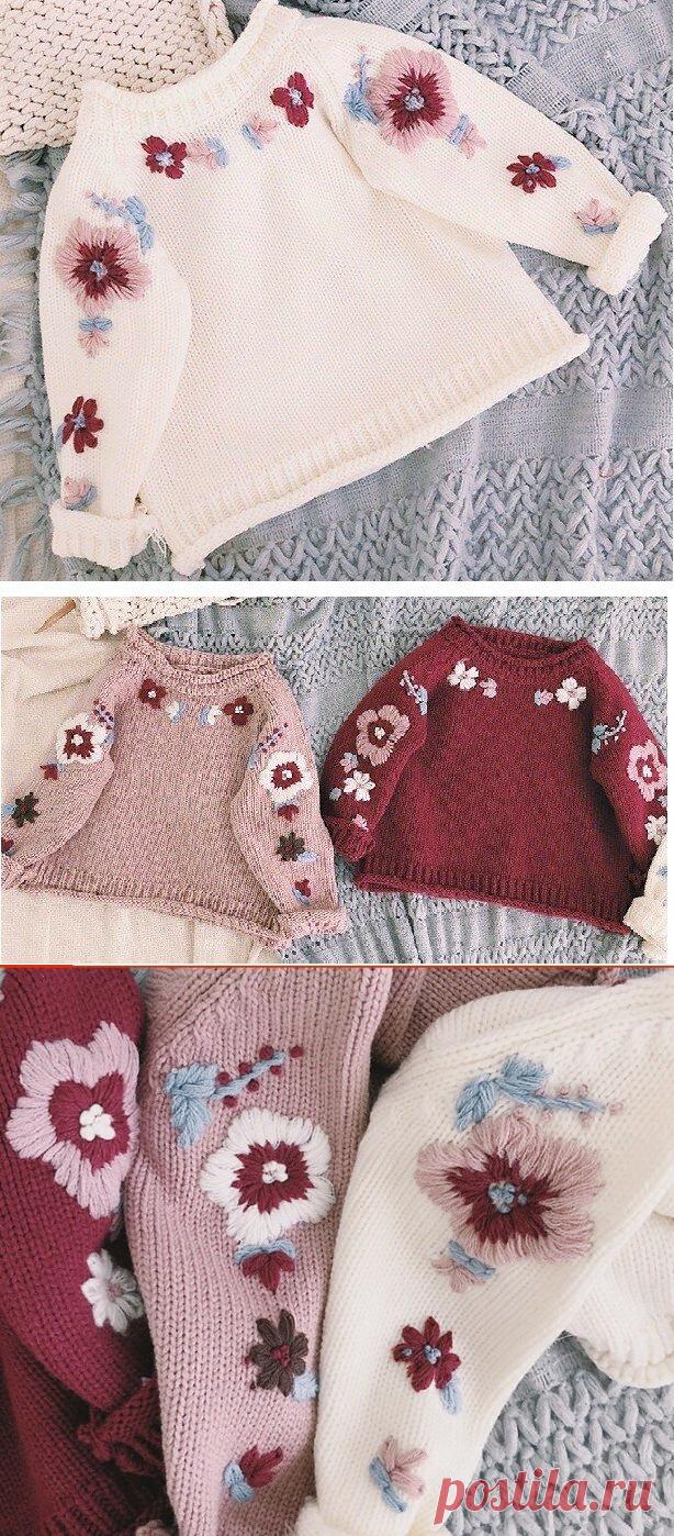 Красивый и модный джемпер с вышивкой для девочки | Поделки, рукоделки, рецепты | Яндекс Дзен