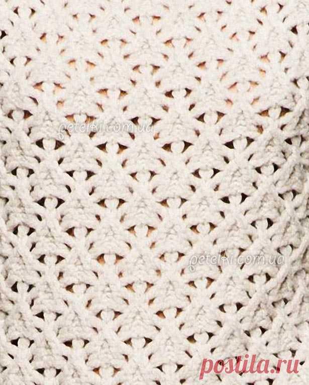 Красивый ажурный узор для спиц. Схема вязания, описание ...