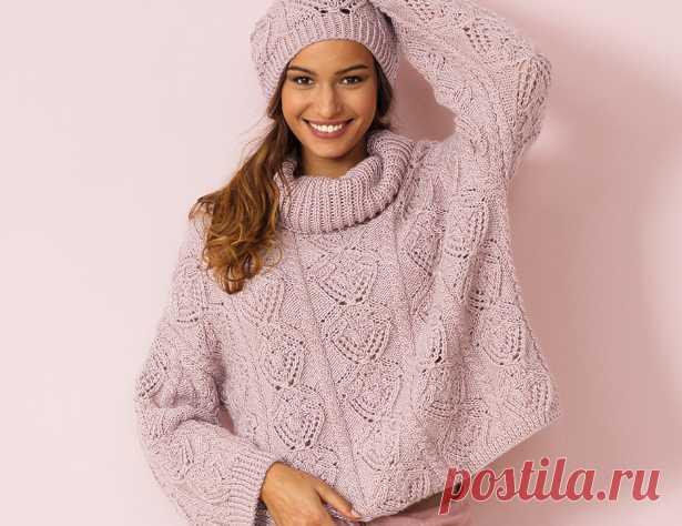 свитер оверсайз с ажурным узором схема вязания спицами вяжем