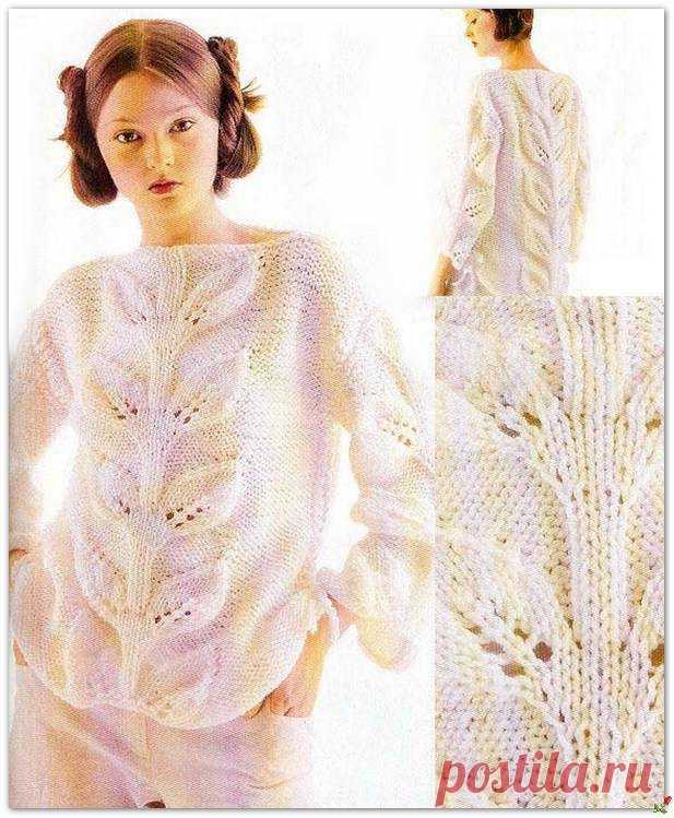 Пуловер с лиственным узором по простой схеме.
